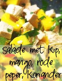 Salade-met-kip,-mango,-rode peper