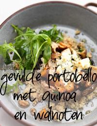 gevulde portobello met quinoa en walnoten