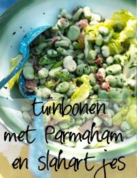tuinbonen met Parmaham en slahartjes
