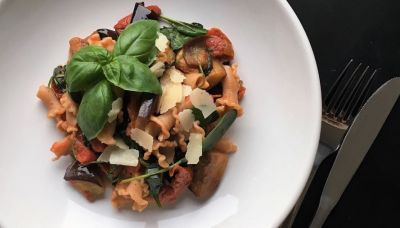 Volkoren pasta met spinazie